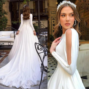 Setwell Jewel A-line Wedding Dresses Long Sleeves Pleated See Through Floor Length Long Train White Bridal Gowns