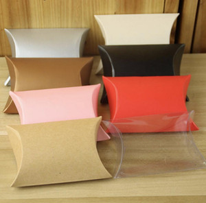 100pcs Colorful Paper Pillow Candy Box, Red Gold Silver brown Kraft PVC Candy Packing for Wedding Favor Gift Party Candy Bags