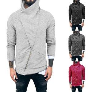 Men's Solid Color Zip Up Hoodie Classic Winter Hooded Sweatshirt Zipper Fleece Warm Cardigan Jacket Coat Top Autumn