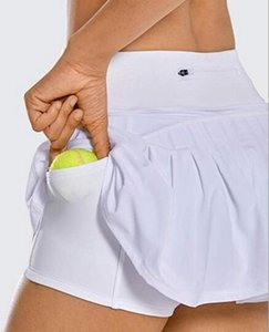 Hot Tennis Skirts Pleated Yoga Skirts Gym Clothes Women Running Fitness Golf Skirt Yoga Pants Shorts Sports Skirt Back Waist Pocket Zipper
