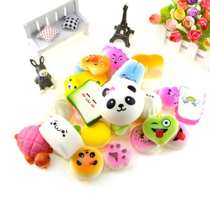 20pcs lot Squishies Toy Slow Rising Squishy Rainbow Sweetmeats Ice Cream Cake Bread Strawberry Bread Charm Soft Fidget Spinner Fruit Toys