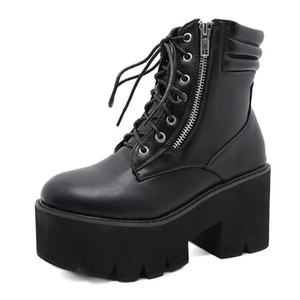 MRCAVE lace up Boots 2021 Fashion Thick Heel Ankle Boots Women High Heels Autumn Winter Woman Shoes black platform shoes