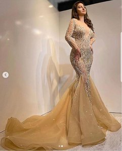 Luxury Crystals Pearls Mermaid Prom Dresses Illusion Long Sleeves Beads Sexy Formal Evening Gowns 2021 Girls Women Pageant Dress Vestidos