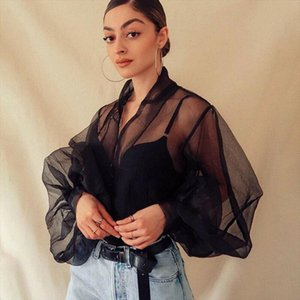 2019 New Fashion autumn Womens Perspective Bubble Sleeve V Neck Button Gauze Blouses Ladies Elegant Mesh Shirt Blusas Tops