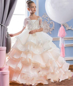 2020 New Arrival Hot Flower Girl Dresses For Weddings V Neck Lace Appliques Beaded Tiered Ruffle Long Pageant Dress Girls Formal Prom Gowns