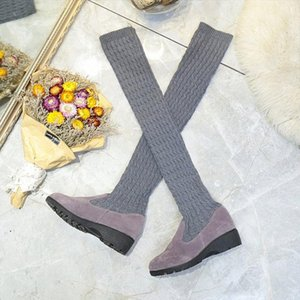Hot Sale-LCIZRONG Sock Long Boots Winter New Fashion Slip On Sock Shoes Woman Over The Knee Boots Thigh High Ladies Slim