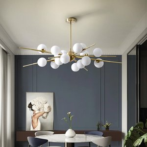 Modern Luxury Glass Ball LED Chandelier For Living Dining Room Hanging Lights Ceiling Mounted Luminaire Pendant lamp