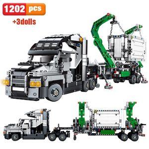 1202pcs Kid's Big Truck Vehicles Car Building Blocks Toy City Engineering Tech Container Block Compatible Technic Brick Q1126