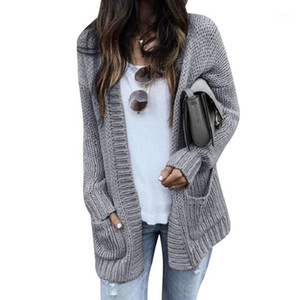 CALOFE Cardigan Women Long Sleeve Knitted Double Pockets Cardigan Autumn Winter Women Sweaters 2020 Knitting Coat Mujer Invierno1
