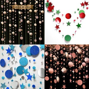 Stars Circular Shaped Sequins Ornament Golden Onion Mirror Wedding Party Flag Pulling Flower Drawing Blue Decoration 3 2sc J2