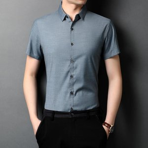 Men's Plus Size Shirt Summer Korean Casual Thin Collar Button Shirt Short Sleeve Grey Office Social Business Dress Shirts Xxxl
