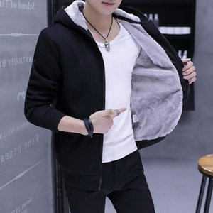 Hoodie Male Hooded Autumn And Winter Ins Trendy Pure Color Simple Brushed Cardigan Coat Male Women'S Sweats & Hoodies