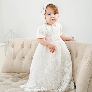 lace baby girl baptism gown christening dress princess long baby girl dresses hats 2pcs wedding newborn baby girl  clothes A5928