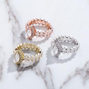 Feminino Moda Elegante Cubic Zirconia Anel Rosa Cor de Ouro Champanhe Cristal Noivado Anel de Casamento para Mulheres Jóias