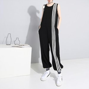 New Women Loose Ankle length Jumpsuits Sleeveless O neck Casual Plus Size Patchwork Striped Jumpsuits 2020 Summer Drop Shipping