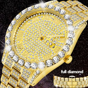Full Bling Large Diamond Watch For Men ICED-Out Hip Hop Mens Quartz Watches Waterproof Date Male Clock Gold Steel Relogio XFCS 201120