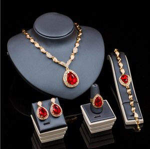 4 Pieces Diamond Wedding Jewelry Water Drop Crystal Collarbone Chain Set Bridal Jewelry Necklace & Earings & Ring & Bracelet