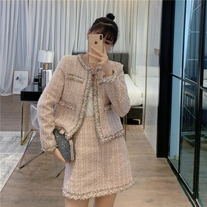 Elegant Two Piece Skirt Set For Women Beading O Neck Tweed Jacket Open Stitch+Tassel A Line Skirt Mini Autumn Pink Outfits