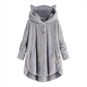 Women Plush Hoodies Sweatshirt Button Coat Solidtops Hooded Zipper Up Loose Sweatshirt Coat Plus Size Oversized Hoodie T2