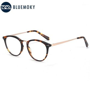 BlueMoky Acetate Gafas redondas Marcos Mujeres Hombres Vintage Óptico Myopia Espectáculos Transparentes Gafas EyeGasases de Prescripción1