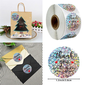 Circular Thank You Sticker Envelope Packaging Adhesivelabel 500 Diy Seal Gifts Decoration Self Adhesive Stickynote Flash Of Light 6 5qy F2