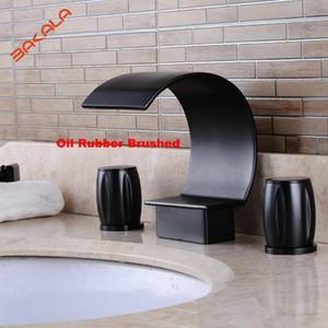 BAKALA 3pcs ORB  Nickel brushed bathroom faucet Newly Retro Style Oil Rubbed Bronze Bathroom Basin Sink Faucet Mixer Tap Vessel