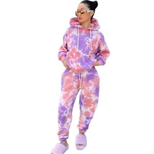 Women Tie-dye Printing Sports 2Pcs Sets Fashion Trend Long Sleeve Hooded Tops Pant Suits Designer Winter Female New Loose Casual Tracksuits