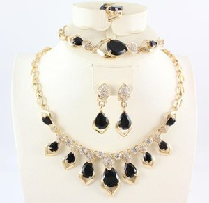 Jewelry Sets 18K Gold Plated Gem Crystal Pendant Necklace Earring Bracelet Rings Bride And Bridesmaids Party Set
