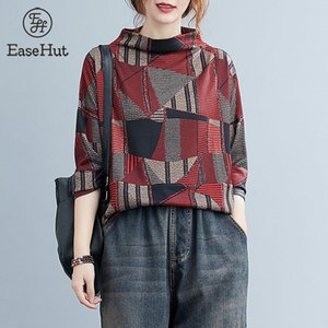 EaseHut Women Vintage T-Shirt Turtleneck Long Sleeves Spring Autumn Tee Tops Geometric Printed Loose Casual Pullovers 2020 New A1112