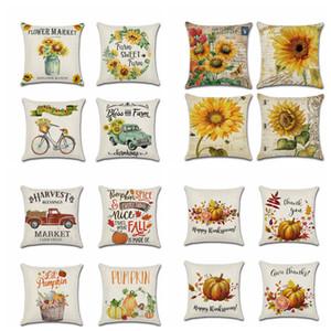 16styles Farm Sunflower Cushion Cover Thanksgiving Autumn Harvest pumpkin Theme Pillow Case Home Office Sofa Car decor 45*45cm FFA2735