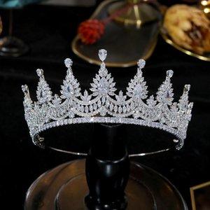 Asnora Luxury Tiaras and Crowns Compromiso Tiara Crown Wedding, accesorios de vestido de noche Joyería nupcial CZ Zirconia Tiara1