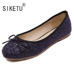 Mais novo Bowtie PU lantejoulas mulheres mocassins dirigindo bailet casual sapatos 35-40 Siketu marca C1120