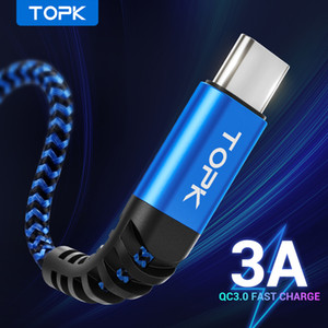 TOPK Micro USB Tipo C cabo 3A Carregamento rápido para Samsung Xiaomi Cabo de dados do telefone móvel Tipo-C para Xiaomi Redmi Nota 8