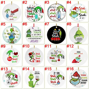 Grinch Quarantine Christmas Ornament Xmas Hanging Ornaments Personalize for Christmas Tree Decor Wearing Mask Designer Ornament Gift FY4351