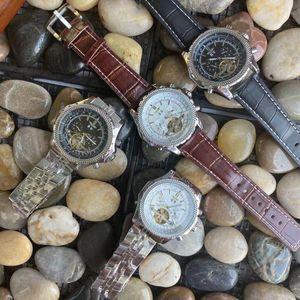 Luxury Top Brand 43mm Tourbillon Designer Mens Fashion Chronograph Casual Leather Automatic Movimento meccanico Automatico Orologi sportivi