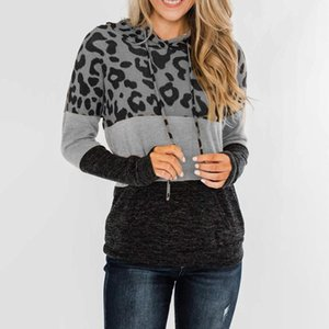 Winter clothes Womens hoodies Leopard Print Long Sleeve hoodies women Color Block Tunic Women Sweatshirts Tops sudadera mujer