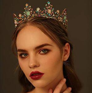 Bridal Rhinestone Crowns Vintage Baroque Color Diamond Retro Round Crown Princess Wedding Tiaras Jewelry Headband Hair Birthday Accessories