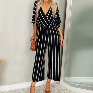 Sexy Loose Striped Jumpsuits Fashion Women V Neck Three Quarter Sleeve fashion Playsuit 0912 A 487 Drop Shipping