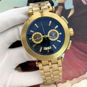 Business Men Shiny Gold Quarzuhr Edelstahlband Mode Qualität Sternstil Automatisches Datum Casual Herren Watch Alle Zifferblatt Chronograph