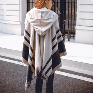 Moda de gran tamaño nuevos chales Cálido invierno con capucha envoltura Cashmere Poncho Plaid Capes Outwear Cardigans Sweater Coat Tassel Keu9