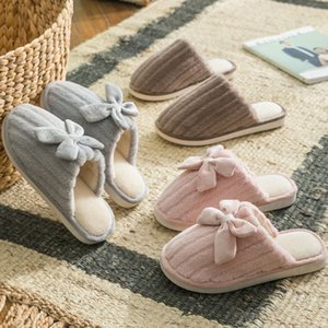 CINESSD Cotton Slippers For Men And Women Lovers Cute Bow Winter Indoor Warm Slippers Christmas Gift Flat Shoes J1205