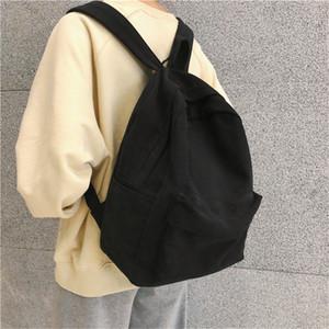 Trend Female Fashion Canvas Women Backpack New Shoulder Bags Solid Color Teenager Girl School bag 201128