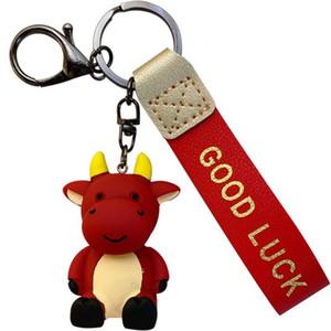 Cute Good Luck Cattle Cow Keychain Fashion Men High Quality Car Keyring Holder Women Bull Ox Pendant Christmas New Year Gift