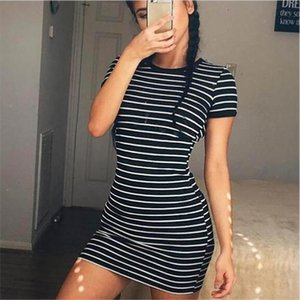 Womens Summer Black and White Striped Round Neck Short Sleeve Elegant Cute Casual Sheath Dress Drop Shipping