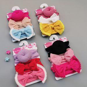 Baby Girls Knot Ball Donut Headbands Bow 3pcs set Infant Elastic Hairbands Children Knot Headwear kids Hair Accessories CCA2797