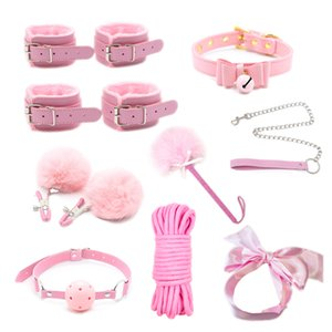 High Quality Sex Toys for Women BDSM Sex Bondage Set Handcuffs Nipple Clamps Gag Whip Rope Adult Games Sex Products for Couples Y201118