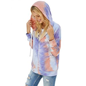 Women Sweater Designer Clothes Tie-dye Long Sleeve Hooded Tops Zipper Jacket Coat Ladies Autumn and Winter Fashion Sweatershirt CZ112503