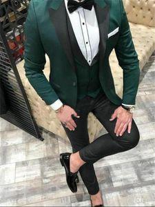 Wedding Men Suits Peak Lapel Groom Tuxedos Suits for Men 3 Pieces (Jacket+Pants+vest+Bowties) Groomsman Suits Custom Made