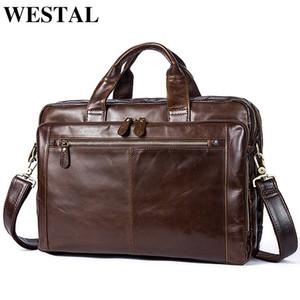 WESTAL Men's Briefcase Men's Leather Bag Men Genuine Leather Zip Messenger Bag Man Leather Laptop Bag for Men Computer Bags 9207