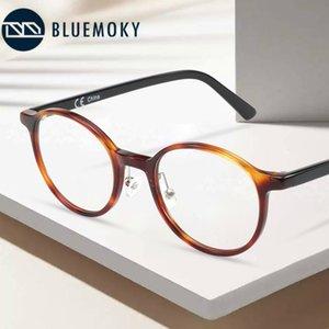 Bluemoky Asetat Yuvarlak Optik Gözlük Çerçeve Erkekler Kadınlar Için Anti Mavi Işık Reçete Gözlük Miyopi Oyun Hesaplama Gözlük 201102